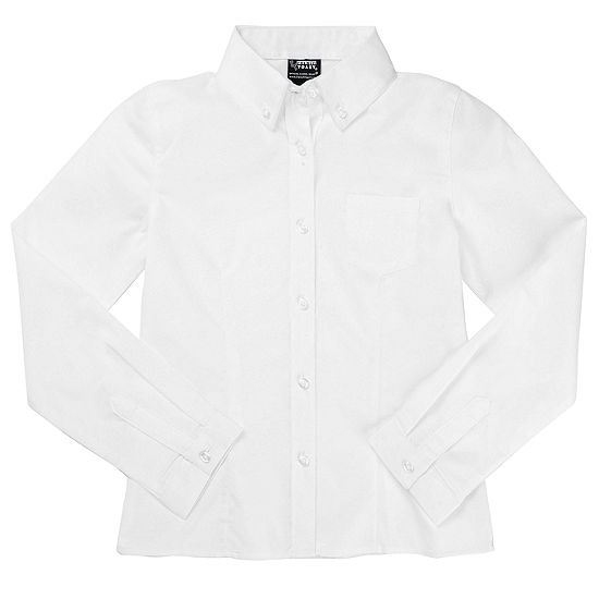 French Toast Long Sleeve Oxford Blouse - Girls 4-20 and Plus