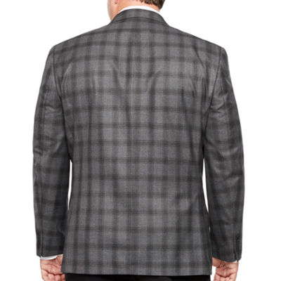 Collection by Michael Strahan Black Gray Plaid Classic Fit Sport Coat - Big and Tall