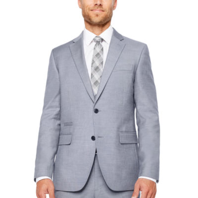 JF J.Ferrar Stretch Blue Gray Sharkskin Jacket-Slim Fit