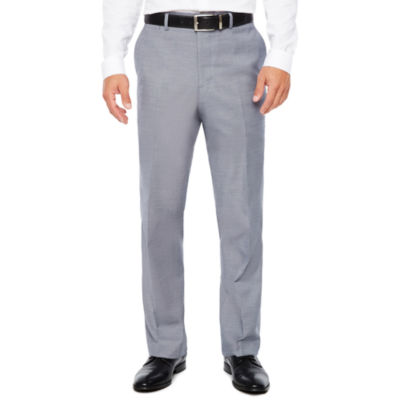 Men's JF J.Ferrar Stretch Gray Blue Sharkskin Flat-Front Slim Fit Pant