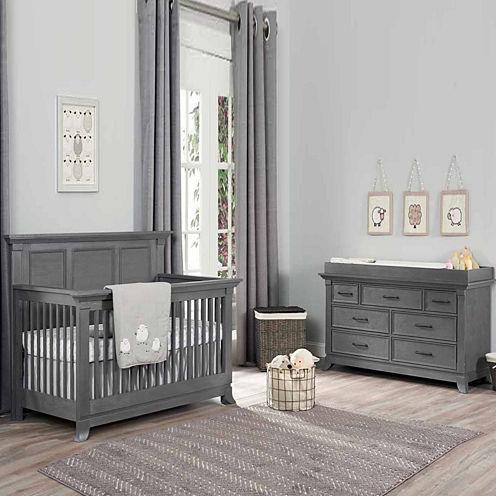 Ozlo Baby Pendelton 2-PC Baby Furniture Set- Marble Gray