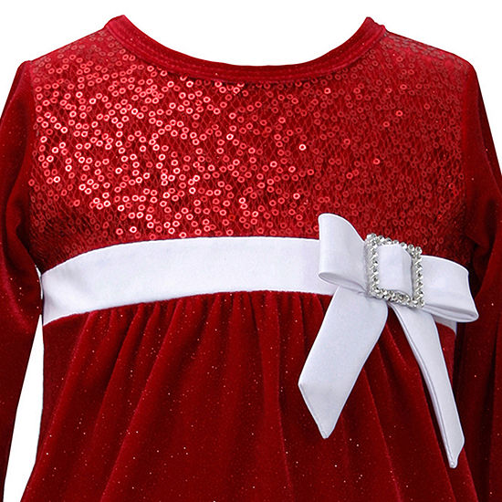 Bonnie Jean Christmas Toddler Girls Long Sleeve Party Dress