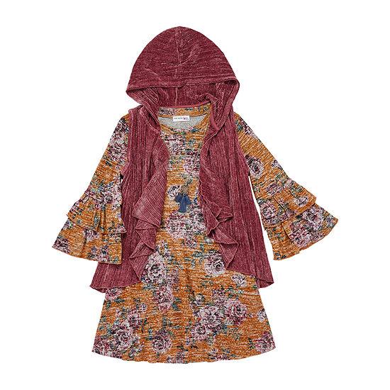 Knit Works Big Girls 2-pc. 3/4 Sleeve Floral A-Line Dress