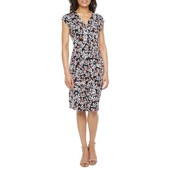 Liz Claiborne Tall Short Sleeve Floral Wrap Dress