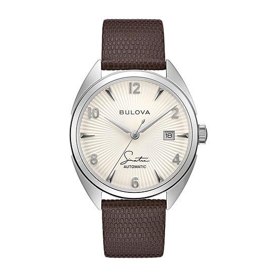 Bulova Frank Sinatra Mens Automatic Brown Leather Strap Watch 96b347