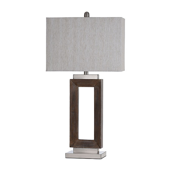 Stylecraft Moulded Hollow Rectangle Brushed Steel Accents Blue Finish Polyresin Table Lamp