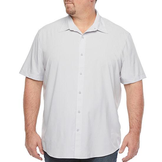 Stylus Big & Tall Mens Stretch Short Sleeve Button-Down Shirt