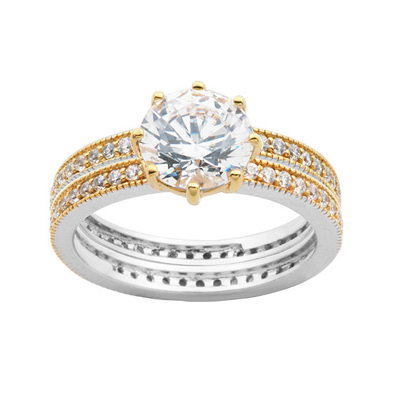 DiamonArt® Cubic Zirconia 18K Gold Over Sterling Silver Bridal Set