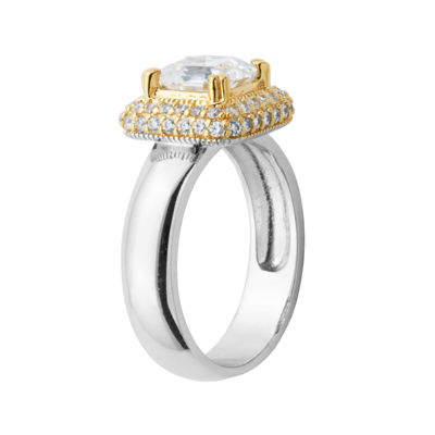 DiamonArt® 18K Gold Over Sterling Silver Cubic Zirconia Cushion-Cut Ring