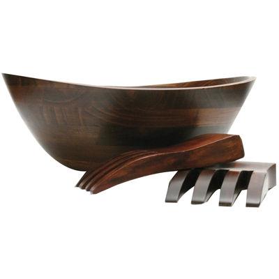 3-pc. Wavy Rim Bowl with Salad Hands Set