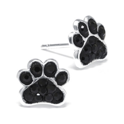 Black Crystal Sterling Silver Paw Print Earrings