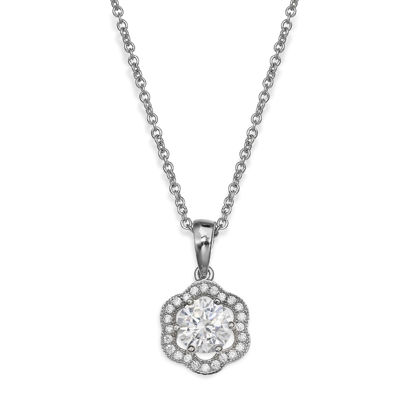 Sparkle Allure™ Flower-Shaped Cubic Zirconia Pendant Necklace