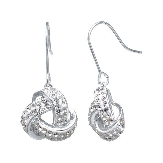 Sparkle Allure Pure Silver Over Brass Clear Crystal Knot Drop Earrings