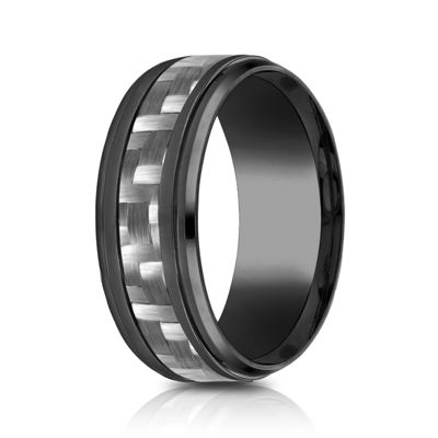 Mens Comfort Fit 9mm Black Titanium Inlay Wedding Band