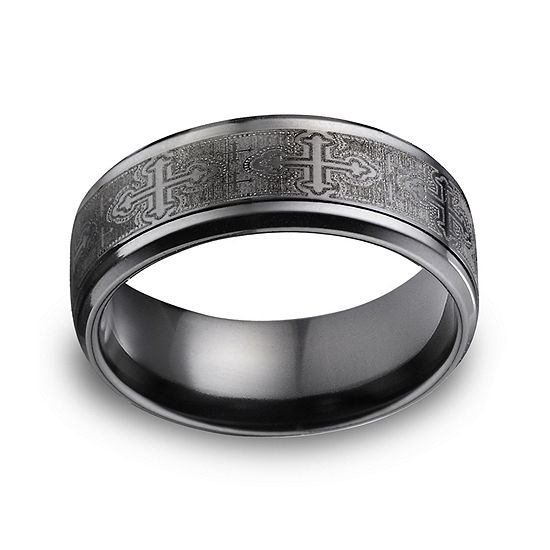 Mens Comfort Fit 9mm Black Titanium Cross Wedding Band