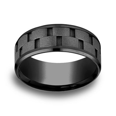 Mens Comfort Fit 8mm Black Titanium Link Inlay Wedding Band
