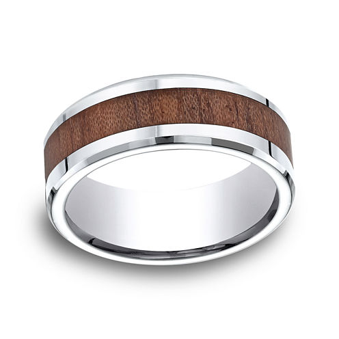 Mens Comfort Fit 8mm Cobalt with Rosewood Inlay Wedding Band