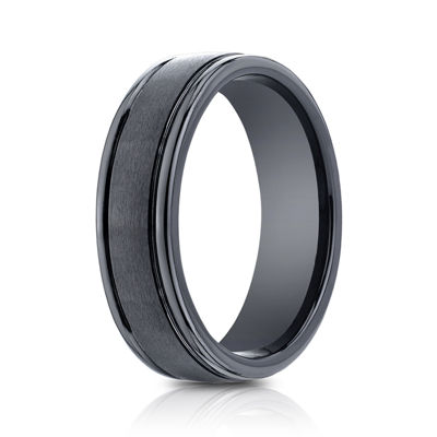 Mens Comfort Fit 7mm Black Cobalt Wedding Band
