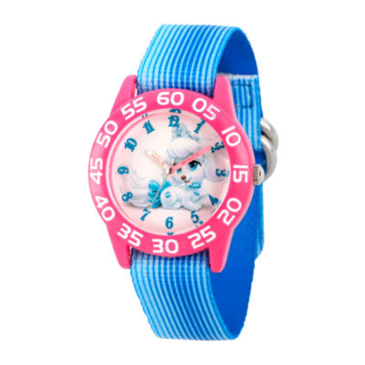 Disney Girls Palace Pets Blue Pumpkin Time Teacher Strap Watch W002826