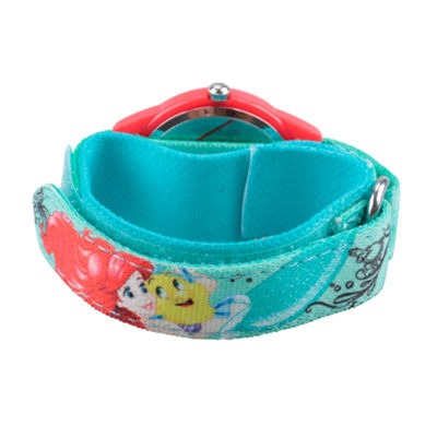 Disney Girls Green and Red Ariel and Flounder Time Teacher Strap Watch W002906
