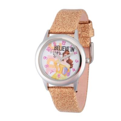 Disney Princess Girls Gold Glitz Beauty and The Beast Belle Time Teacher Strap Watch W002921