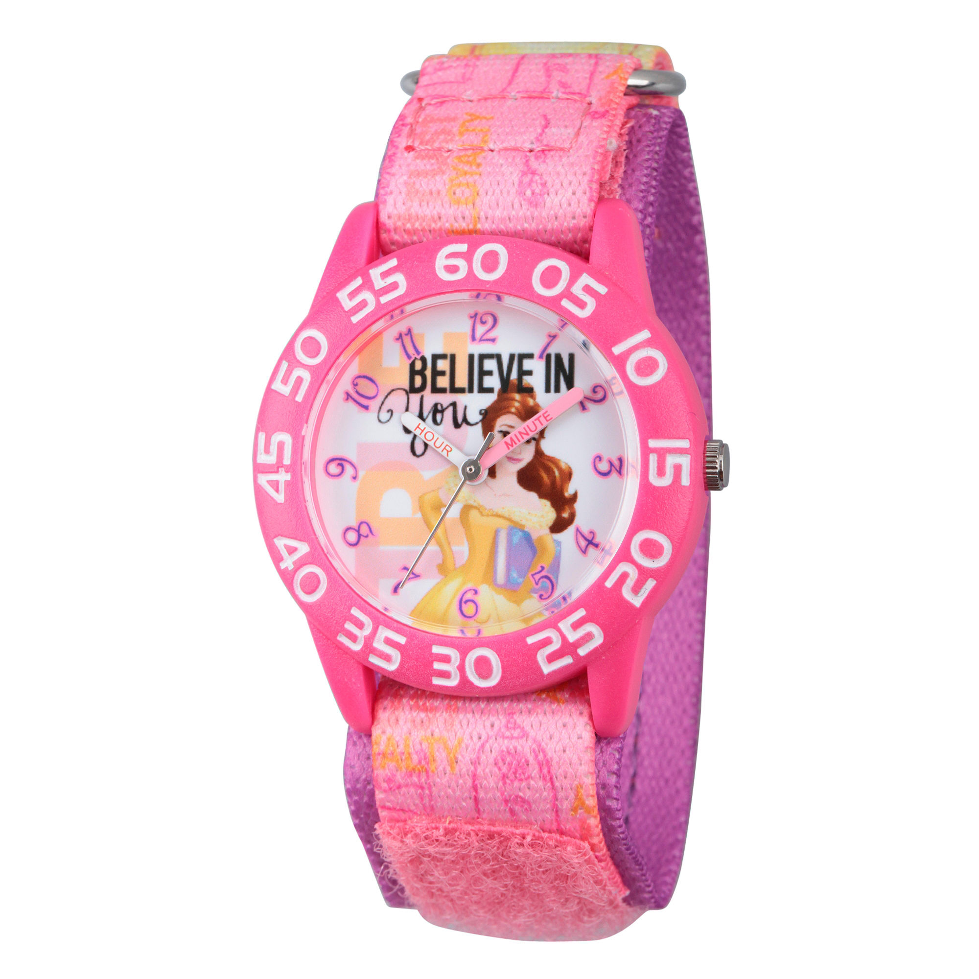 Disney Princess Girls Pink Beauty and The Beast Believe Time Teacher Strap Watch W002930