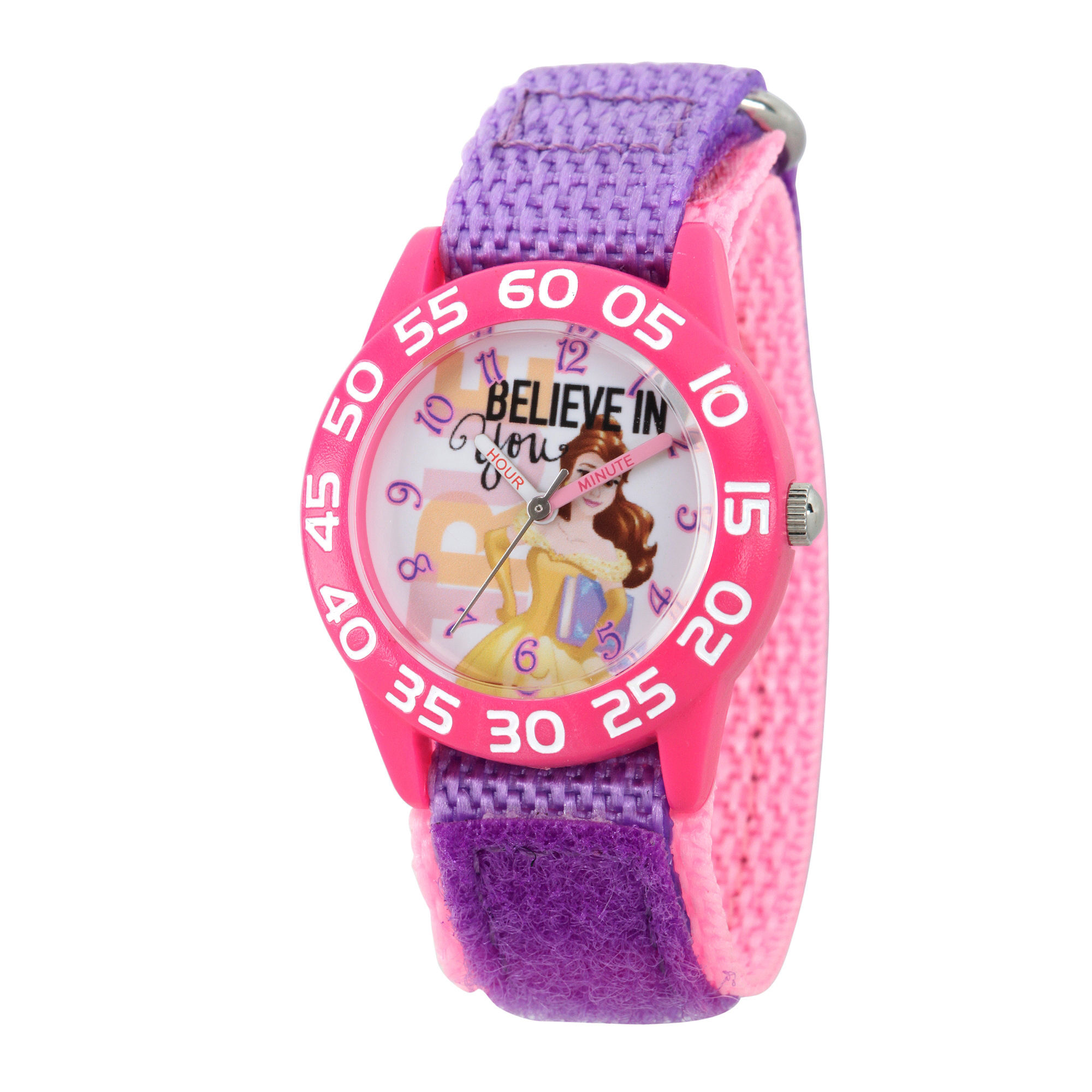 Disney Princess Girls Pink and Purple Beauty and The Beast Believe Time Teacher Strap Watch W002931