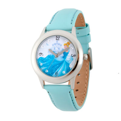 Disney Princess Girls Blue and Silvertone Cinderella Time Teacher Strap Watch W002937