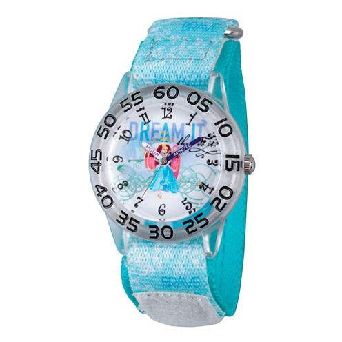 Disney Princess Girls Blue Cinderella Dream Time Teacher Strap Watch W002942