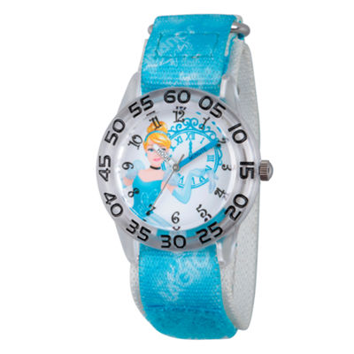 Disney Princess Girls Blue Cinderella Clock Time Teacher Strap Watch W002944