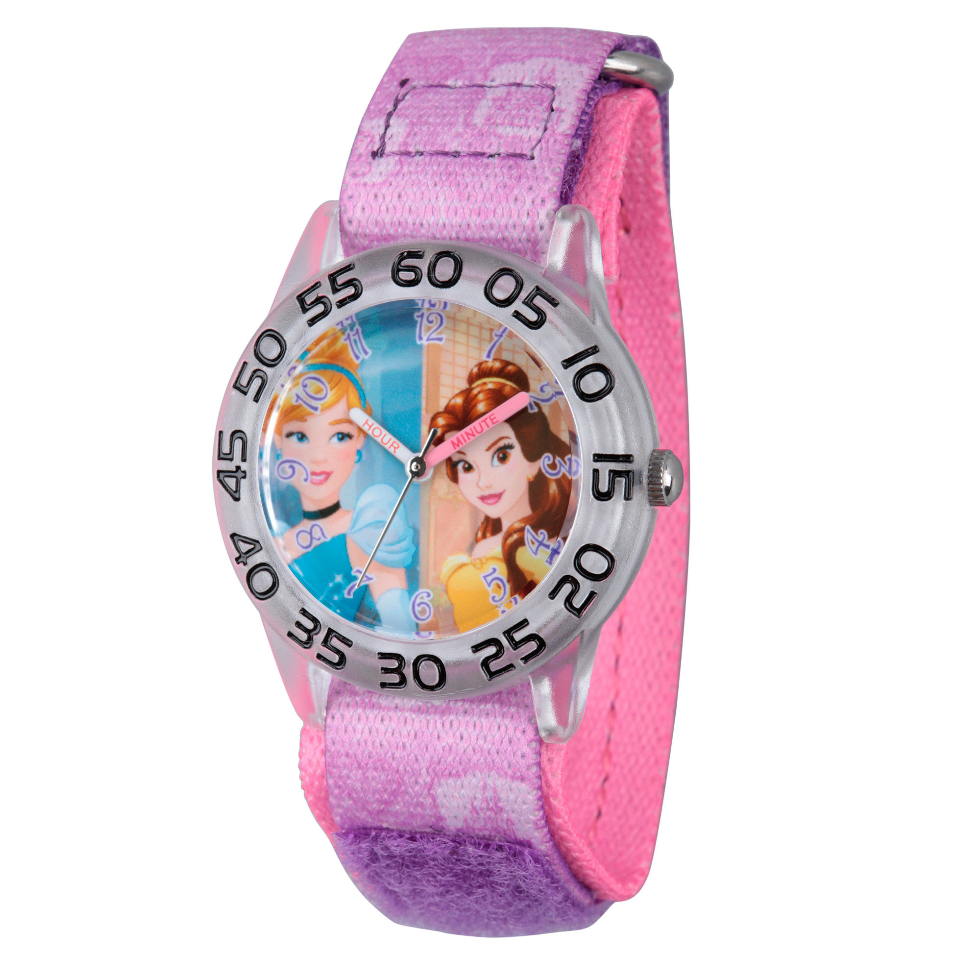 Disney Princess Girls Purple and Silvertone Cinderella and Belle Time Teacher Strap Watch