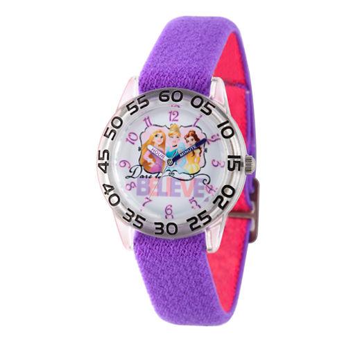 Disney Princess Girls Purple Believe Time Teacher Strap Watch W002948
