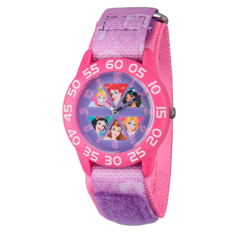 Disney Princess Girls Pink Princesses Time Teacher Strap Watch W002949