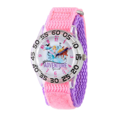 Disney Princess Girls Pink and Silver Tone Believe Princesses Time Teacher Strap Watch W002953