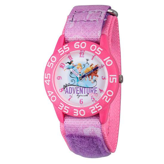 Disney Princess Girls Pink Adventure Time Teacher Strap Watch W002954