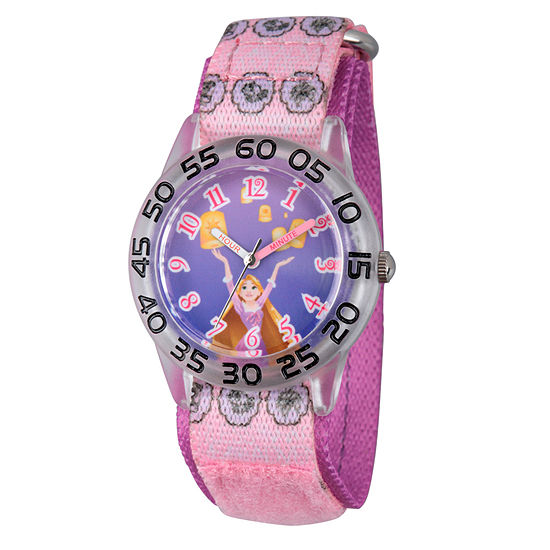 Disney Princess Girls Purple Tangled Time Teacher Strap Watch W002961
