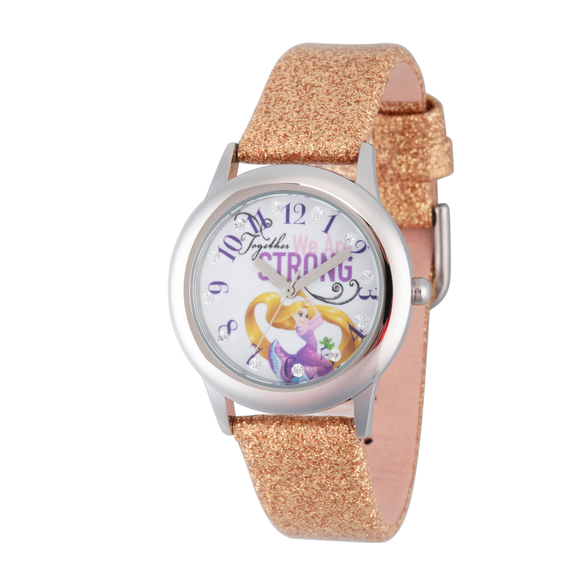 Disney Princess Girls Gold Glitz Tangled Strap Watch W002963