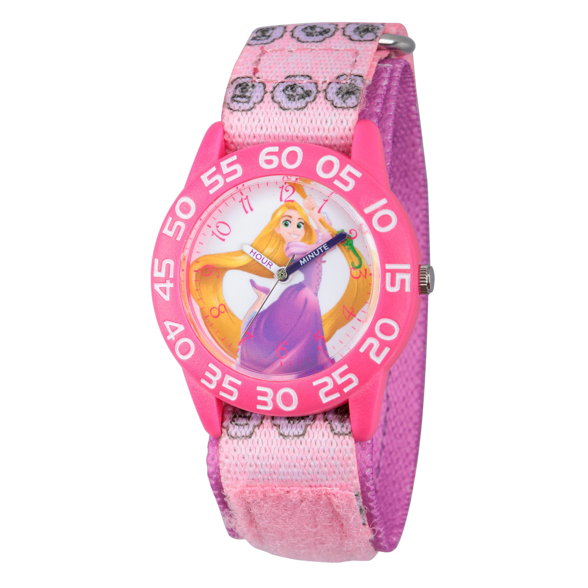 Disney Princess Girls Pink Tangled Time Teacher Strap Watch W002967