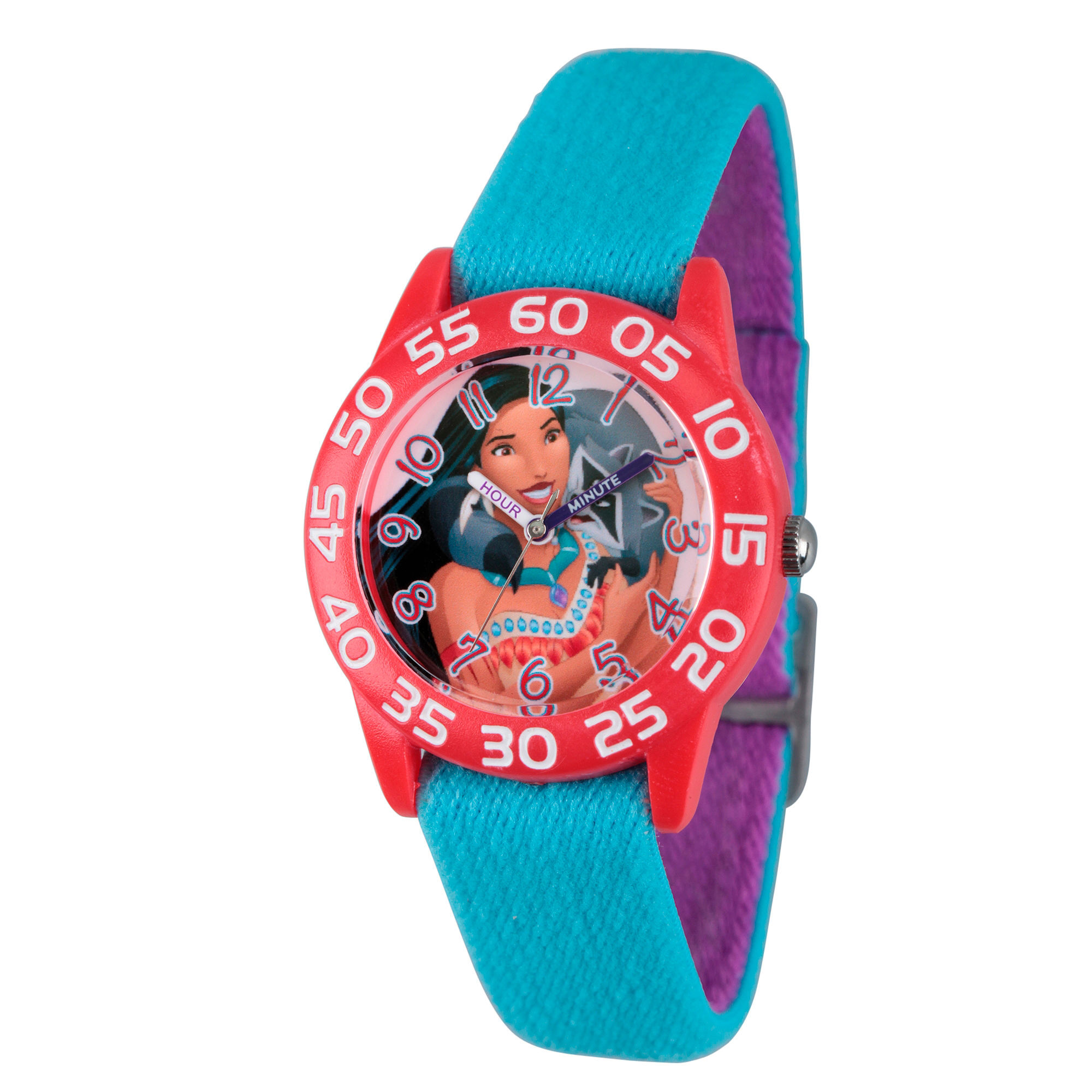 Disney Princess Girls Blue Pocahontas Time Teacher Strap Watch W002974
