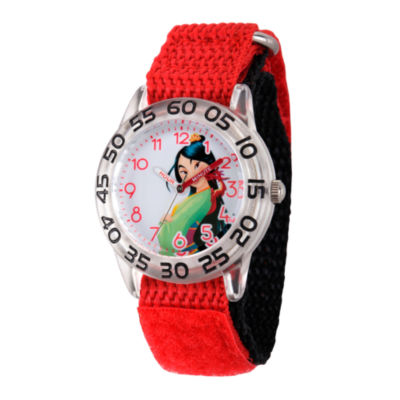 Disney Princess Girls Red and Silver Tone Mulan Time Teacher Strap Watch W002981