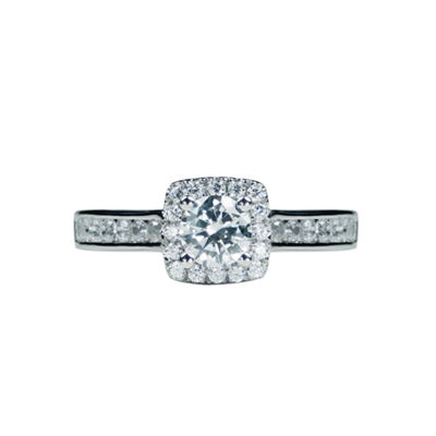 1 CT. T.W. Diamond 14K White Gold Halo Engagement Ring