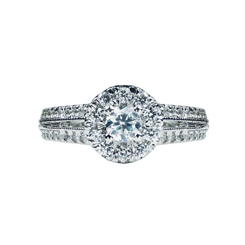 1 CT. T.W. Diamond 14K White Gold Halo Engagement Ring