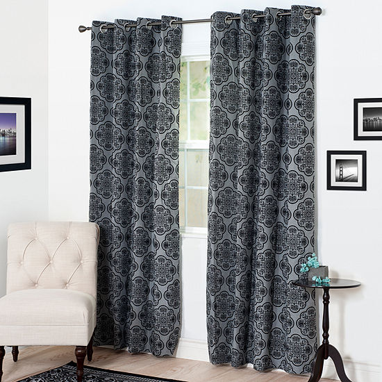 Cambridge Home Dana Flocked Grommet Top Curtain Panel