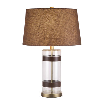 Catalina Glass Faux-Leather Table Lamp