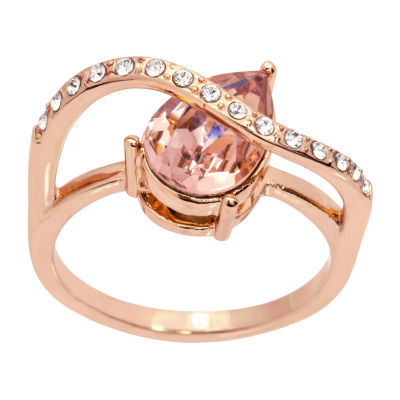 Sparkle Allure Womens Pink 14k Rose Gold Over Brass Cocktail Ring