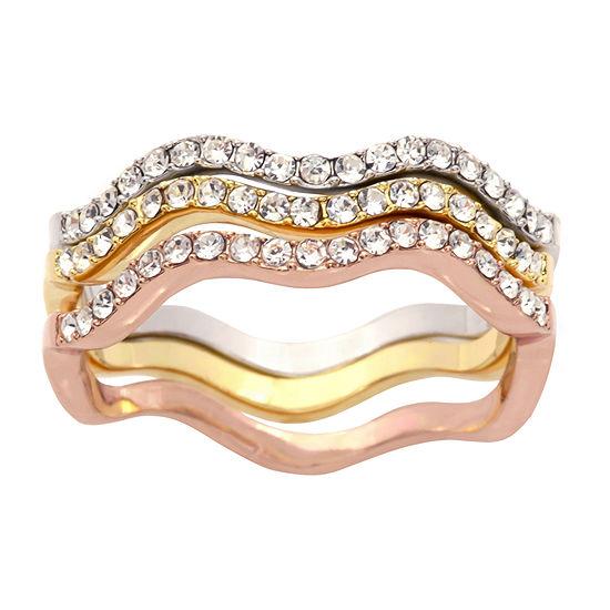 Sparkle Allure Crystal 14k Rose Gold Over Brass Stackable Ring