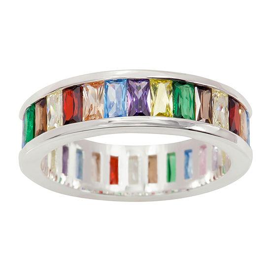 Sparkle Allure Multi Color Cubic Zirconia Pure Silver Over Brass