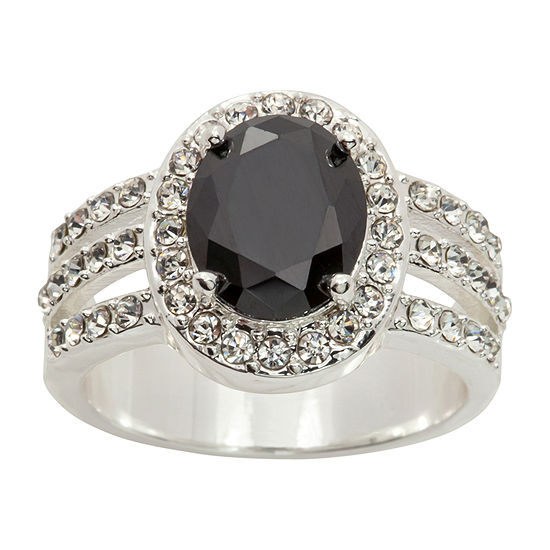 Sparkle Allure Womens 4 1 4 Ct Tw Black Cubic Zirconia Pure Silver Over Brass Cocktail Ring