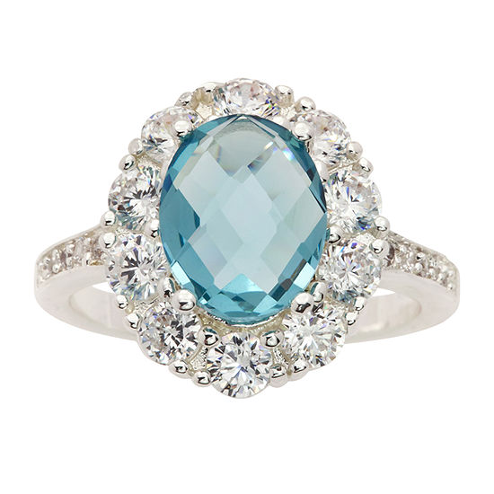 Sparkle Allure Blue Crystal Pure Silver Over Brass