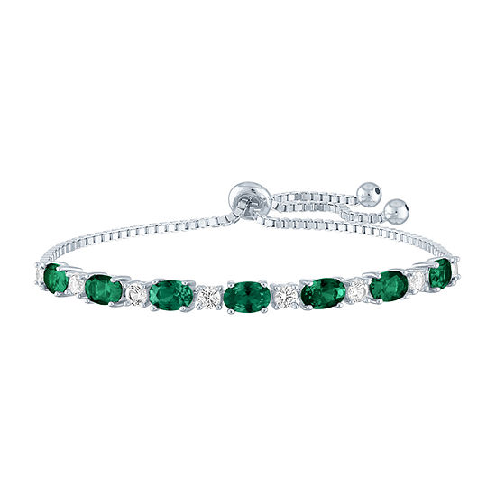 Simulated Green Emerald Sterling Silver Bolo Bracelet